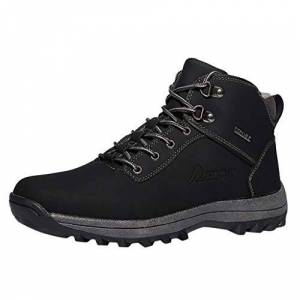 Burfly-Boots Burfly Mens Womens Lace Up Snow Boots Winter Warm Waterproof Ankle Boots Outdoor Non Slip Fur Lined High Rise Hiking Trekking Boots Shoes, Size 5.5-10 Uk Black
