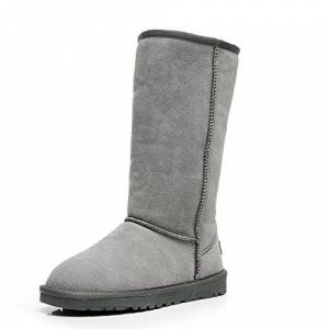 Jamron Womens Classic Below Knee Thermal Suede Half Snow Boots Thick Faux Fur Lined Winter Boots Grey S1015 Uk6