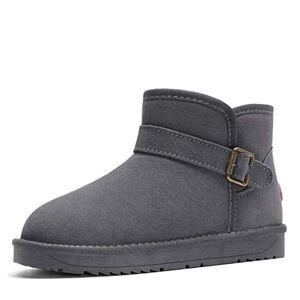 Rojeam Women'S Warm Snow Booties With Buckle Winter Ankle Boot Outdoor Grey