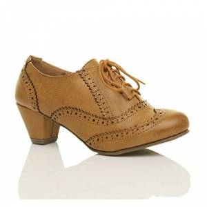 Ajvani Womens Ladies Mid Block Heel Cut Out Lace Up Brogue Shoe Boots Booties, Tan Matte Brogue, 6 Uk