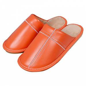 Yuyugo Women Leatherette Slippers Warm Non-Slip Comfortable House Shoes Indoor Outdoor Orange