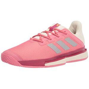 adidas Women'S Solematch Bounce Tennis Shoe, Hazy Rose/silver Metallic/acid Orange, 11