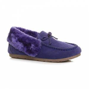 Ajvani Womens Ladies Fur Collar Lined Flexible Sole Moccasins Slippers Size 8 41 Purple