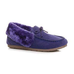 Ajvani Womens Ladies Fur Collar Lined Flexible Sole Moccasins Slippers Size 3 36 Purple