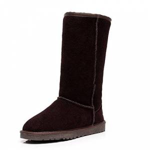 Jamron Womens Classic Below Knee Thermal Suede Half Snow Boots Thick Faux Fur Lined Winter Boots Coffee S1015 Uk5