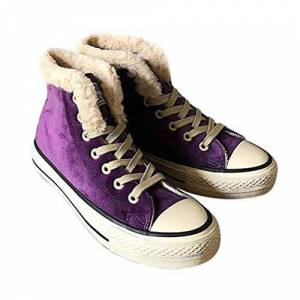 Angerella Womens High Top Canvas Sneakers Fur Lined Shoes Suede Plush Ankle Length Sport Shoes Winter Snow Boots,Purple