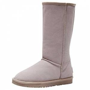 Jamron Womens Classic Below Knee Thermal Suede Half Snow Boots Thick Faux Fur Lined Winter Boots Beige S1015 Uk5