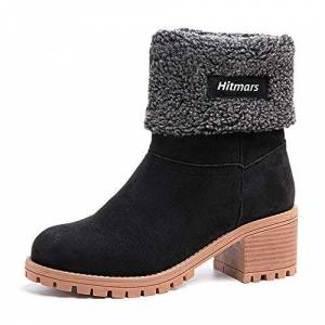 Neoker Winter Suede Boots Womens Ladies Fur Chunky Block Elegant Heel Lined Ankle Booties Outdoor Snow Boots Vintage Shoes 6cm Black Brown Khaki 3-8 Uk Black2 Size 38