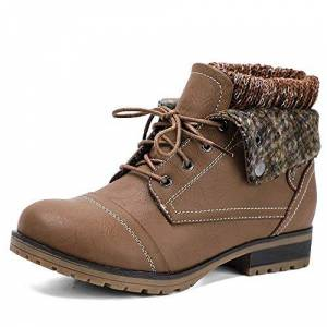Hkr Ladies Comfortable Ankle Boots Womens Comfy Walking Shoes Low Heel Work Combat Hiking Boots Anti-Slip Outdoor Fur Lined Winter Snow Boots Dark Brown Uk 7.5/us 8.5