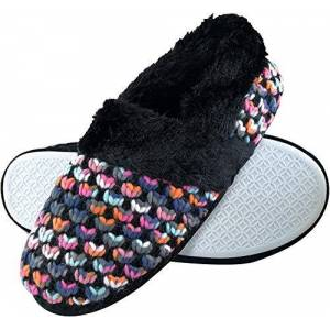 Dunlop - Ladies Cute Fluffy Plush Winter Warm Knitted Slippers (3 Uk, 8029 Black)