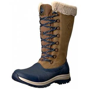 Muck Boots Arctic Apres Lace Ta Womens Leather Material Snow Boots Otter/navy - 5 Uk