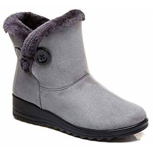 Hsyooes Womens Comfort Warm Fur Lined Boots Winter Snow Boots Ladies Non Slip Ankle Short Booties Low Heel Flats Comfy Boots Shoes, 3 Uk, Gray