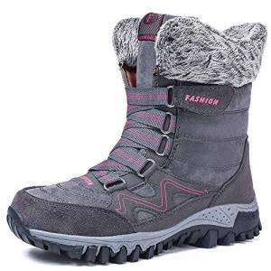 Ziitop Womens Snow Boots Ladies Winter Fur Lined Warm Ankle Boots Lace Up Anti-Slip Water Resistant Shoes For Outdoor Walking Hiking Trekking , Grey, 5.5 Uk