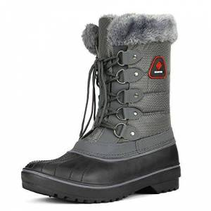 Dream Pairs Women'S Dp-Canada Grey Faux Fur Lined Mid Calf Winter Snow Boots Size 7 Uk/9 Us
