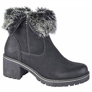 Cipriata Ladies Womens New Inside Zip Mid Heel Fur Collar Ankle Boots Shoes Size 3-8 - Black - Uk 6