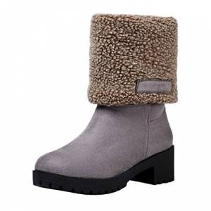 Agodor Womens Chunky Heels Platform Mid Calf Snow Boots Winter Fur Lined Ankle Boots (Uk2, Grey)