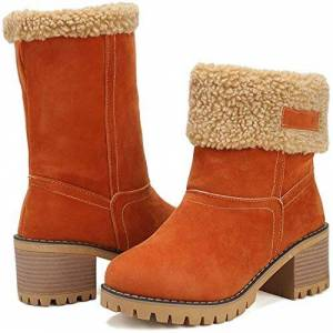 Functionaryb Women Snow Boots Faux Suede Fur Lined Mid Heel Shoes Winter Warm Short Block Ankle Booties For Outdoor Orange 6.5 Uk