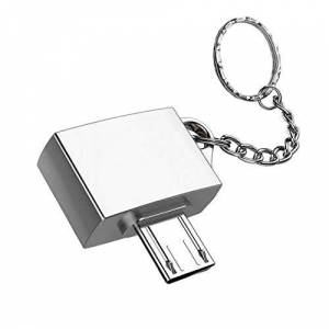 Jasnyfall 1Pc Quality Ultra Potable Metal USB 2.0 Micro USB OTG Adapter for Android Device with Key Chain Ring Holder Simple Design silver Jasnyfall