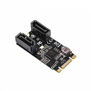 I/O CREST IO Crest M.2 22x42 to SATA III 2 Ports Adapter Card (Jmicro Chipset), Add Two SATA 3.0 Devices to Any M.2 2242 Slot