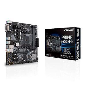 Asus Prime B450M-K Micro ATX Motherboard, AMD Socket AM4, Ryzen 3000 Ready, PCIe 3.0, M.2, DDR4, LAN, DVI-D, D-Sub, USB 3.1