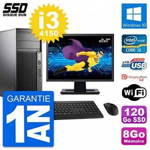 "HP PC Tour Z230 Screen 22 "" Intel Core i3-4150 RAM 8Go SSD 120Go Windows 10 Wifi (Reconditioned)"