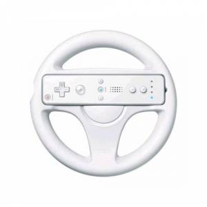 OSTENT Mario Kart Racing Games Steering Wheel Compatible for Nintendo Wii Remote Controller Color White