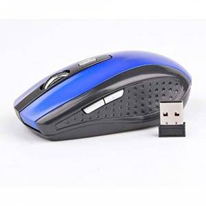 RoxTop 2.4GHZ 1600DPI Wireless Optical Mouse 6 Key for Games Office Leisure Use(Blue)