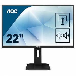 "AOC P1D 21.5"" LED Full HD (1920x1080) Height adjustable monitor with built in speakers (VGA, DVI, HDMI) - Black, 22P1D"