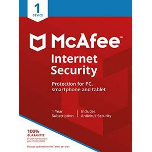 McAfee Internet Security - 1 Device 1 Year PC/Mac/Android/Smartphones Activation code by post