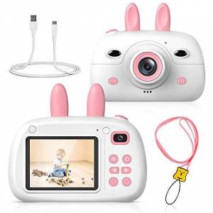 RAYROW Kids Camera, 800W Pixels with 2.4 Inch HD Screen,Front and Rear Selfie Camera with 16GB SD Card, Shockproof Video Camera, Birthday Gift for Kids Contains three games