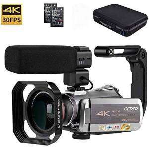 """ORDRO Video Camera 4K Camcorder ORDRO Real 4K Ultra HD 30FPS Digital Video Camera 28MP WiFi Recorder IR Night Vision 3.1"""" IPS Touch Screen with Stereo Microphone, Wide Angle Lens and Camera Holder"""