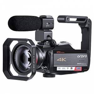 ORDRO 4K Camcorder Video Camera Ultra 1080P 60FPS Vlog Camera 12X Optical Lens 3.1 IPS Touch Screen WiFi Digital Camera Recorder with Microphone Wide Angle Lens and 32GB SD Card