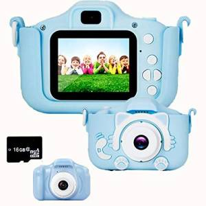 BECROWM EU BECROWMEU Kids Digital Camera Toys with Game, Childrens Compact Camera Video Recorder 20MP 1080P HD 16GB Memory Card, Birthday Festival Gifts for Toddler Girls Boys Toys Age 3-12 Years Blue