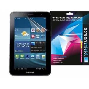 TECHGEAR Screen Protector for Samsung Galaxy Tab 2 7.0 P3100 with Wifi & P3110 (7 inch) - Clear Lcd Screen Protector Cover With Cleaning Cloth & Application Card