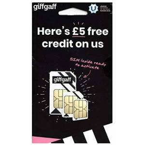 giffgaff 4G Trio/Multi Cut SIM Card with 5 credit. Unlimited Calls, Texts & Data. Fits iPhone 5S/6/6S/7 Plus/8 Plus/SE/X, Samsung Galaxy S7/S7 Edge/S8, Huawei, Nokia, Sony, LG & HTC Mobile Phones