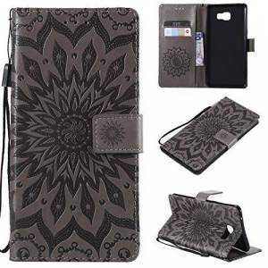 kelman Phone Cases for Samsung Galaxy C9 Pro Case Cover 3D Sun Flower Fashion PU Leather,Card Slot,Built Stand,Magnetic Closure,Wallet Function - [Gray]