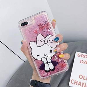 YUJINQ For Samsung Galaxy S10 Case,Cute Hello Kitty Liquid Glitter Case Cover Sparkle Love Heart Clear TPU Shockproof Bumper Case (S10,2#)