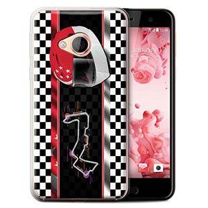 Stuff4 Phone Case for HTC U Play/Alpine F1 Track Flag Singapore Transparent Clear Ultra Soft Flexi Silicone Gel/TPU Bumper Cover