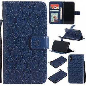 Qiaogle Phone Case - PU Leather Stand Wallet Flip Case Cover for Apple iPhone X (5.8 inch) - KT53 / Classic Embossed (Dark Blue)