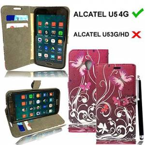 """Mobile Stuff For Alcatel U5 (5044D, 5.0'') - [Kickstand] [All Around Protection] Premium PU Leather Wallet Flip Phone Protective Case Cover with Card Slots and Magnetic Closure for Alcatel U5 (5.0"""") Smartphone + Free Stylus Pen (BUTTERFLY PURLE BOOK)"""