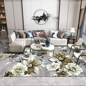 DYEWD Rugs Rugs Vintage blue Floral large living room carpets Modern shag Bedroom area rugs soft kids room rugs grey Runners Home Decor mats