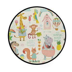 Dxg1 Animal Area Rugs Round Rug Non-Slip Soft Carpet Yoga Baby Kid's Play Pet Floor Mat for Bedroom Living Room Playroom