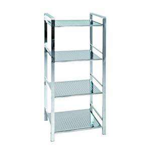 HAKU Furniture Bath Rack, Stainless_Steel, Chrome, W: 42 x D: 32 x H: 100 cm