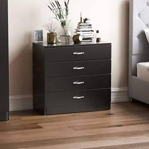 Home Discount Vida Designs Black Chest of Drawers, 4 Drawer With Metal Handles and Runners, Unique Anti-Bowing Drawer Support, Riano Bedroom Furniture