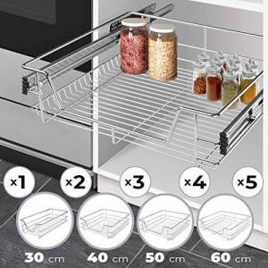 Jago Pull Out Wire Storage Basket - Set of 2, Chrome Finish, 300 mm, with Runners - Kitchen or Bedroom Drawer, Slide Out Basket, Cabinet Organizer
