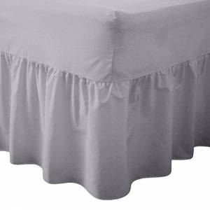 Rohi Valance Sheet 100% Combed Polycotton, Single Double King or Super King, Frilled Design - FIT OVER MATTRESS. OEKO-TEX Standard 100 Certified Product (Double Valance Sheet, Grey)
