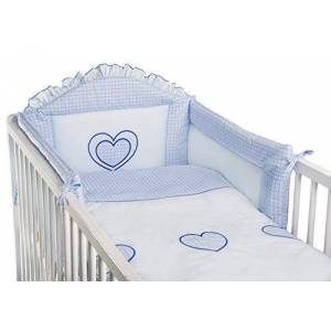 Baby Comfort 3 Piece Baby Bedding Set (to Fit Cot or Cot Bed) Embroidered - Hearts (COT Bed 140 x 70cm, Blue)