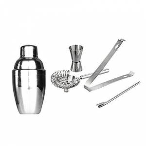 jieGorge Boston Shaker, 5Pcs/Set Cocktail Shaker Stainless Steel Bartender Tool Mixer Drink Bar 250ml, KitchenDining & Bar Sales (Silver)
