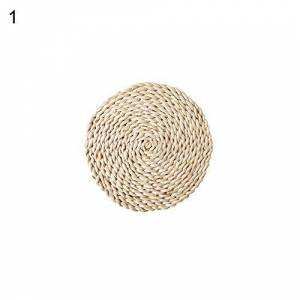 Danigrefinb Placemats and Coaster Rattan Weave Round Oval Placemat Dining Table Heat Insulation Mat Kitchen Decor - Round 11cm