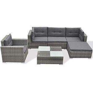 vidaXL Garden Lounge Set 17 Pieces Poly Rattan Grey Outdoor Patio Sofa Seat
